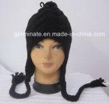Горячая продажа моды вязания Beanie Earflap Red Hat Red Hat с Pompom (Hjb025)