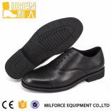 黒いGueuine牛革PUの革ライニングの軍隊の履物の軍のオフィスの靴
