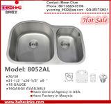 Dissipador de cozinha 8052al do aço 304 inoxidável (70/30) para Handmade com Cupc
