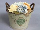 Ретро деревянный цветочный горшок печатание цвета