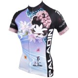 Riga respirabile della Short Sleeve Cycling Jersey di estate delle donne/signora motivo esterno del giglio di sport del Han di bello