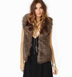 女性の袖なしののどの毛皮のベストの方法デザイン暖かいコート