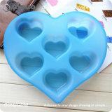 25*20*3.8cmの青い恋人の形のシリコーンのカップケーキ型