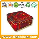 気密のふた、食糧容器が付いている正方形の金属の錫チョコレートボックス