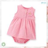 아기 옷 소매 없는 유아 복장을 인쇄하는 줄무늬