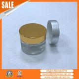 Haut-Sorgfalt-Sahne-Raum-Glasgläser mit silberner Aluminiumschutzkappe