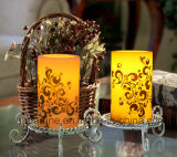 星の装飾のための明滅のFlameless銀色の印刷の電池式の安全使用LEDの蝋燭