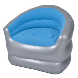 Round U Shape Leisure Flocked PVC Inflatable Single Sofa