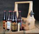 Antigüedad de encargo de la insignia portador de madera de la cerveza de 6 paquetes con el abrelatas