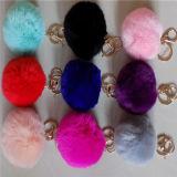 2017 catena chiave della sfera della pelliccia reale più popolare/conigli Stabile POM Poms di Keychain Rex per il commercio all'ingrosso del cappello di inverno in linea
