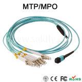 8/12/24回のファイバーOm3 MTP/MPO-LCのブレイクアウトケーブル