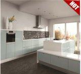 Modern High Glossy Lacqure Flat Pack Projetos de madeira de armário de cozinha com Stone Countertop