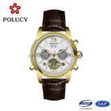 方法本革の金カラー自動人の腕時計