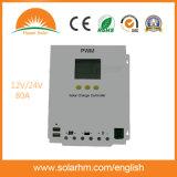 Regulador solar casero solar de la carga de la visualización 12V 24V del sistema LCD de RoHS 80AMP del Ce
