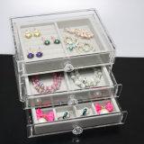 De acryl Doos van de Vertoning van Juwelen met 3 Laden & Dienblad van het Fluweel