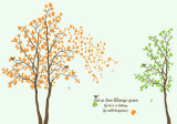 El verde deja la pintura negra del papel pintado de la imagen del vector del árbol para la decoración casera