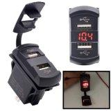 12V de dubbele Adapter van de Lader van de Afzet van de Stop van de Contactdoos van de Macht van de Schakelaar van de Boot van de Auto USB Mariene
