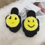 Сплошным цветом заяц тихом помещении тапочки для мужчин и женщин/Custom зимой флоп опрокидывания