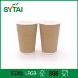 使い捨て可能な習慣によって印刷されるさざ波の壁の熱いコーヒークラフト紙のコップ