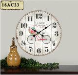 Décoration de la vitesse d'antiquités Vintage vélo design en bois MDF Horloge murale de l'autocollant de papier d'impression