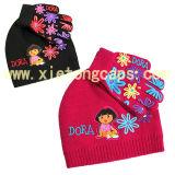 Conjunto de chapéu e luvas de malha (JRK096, JRK097)