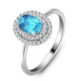 Ladyのための方法Solid Silver Gemstone Jewelry Blue Topaz Ring