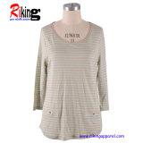 Mode femmes de milieu manchon T-Shirts (RKT1337)