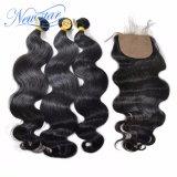 新しい星の一致させた絹の基礎閉鎖が付いているペルーの卸し売りバージンの毛ボディ波の束は自由に部品