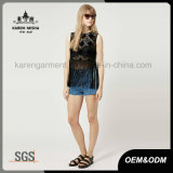 Femmes Argyle Black Crop Fringe Tank Stock