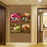 4部分の現代壁の芸術はキャンバスのホーム装飾Mc243で絵画きのこの絵画部屋の塗られた装飾によって組み立てられた芸術映像を印刷した