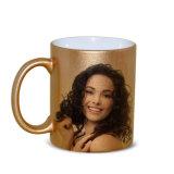 Customed ha stampato le tazze dorate di ceramica di sublimazione della tintura della tazza di marchio