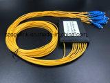 Gpon de fibra óptica de telecomunicaciones 1X16 Caja de plástico PLC Splitter