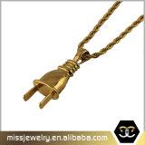 De eenvoudige Halsband Mjhp130 van de Tegenhanger van de Stop van de Mensen van het Ontwerp Gouden