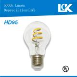 Alto CRI 95 6W 500lm A19 nova espiral filamento da lâmpada da luz de LED