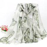 Madame estampée par guindineau mince Scarf (Hz202) de polyester d'été
