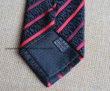 Gravata listrada preta e vermelha tecida poli para homens