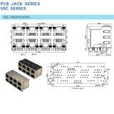 LED를 가진 다중 포트 2X4에 의하여 겹쳐 쌓이는 유형 Cat5 RJ45 연결관