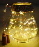 30LEDs小さいびんのコルクはステンレス鋼のハンドルが付いている鐘のクリスマス電池の銅線ライトをつける