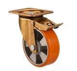 160mm Alumiumium Kern PU-Rad-Hochleistungsschwenker, der Fußrolle sperrt