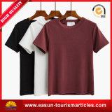 Kundenspezifisches hochwertiges Baumwollebenen-T-Shirt mit rundem Stutzen