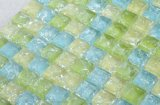 台所Backsplashのための多彩な青緑の黄色いガラスモザイク・タイル