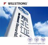 Material compuesto de aluminio de la muestra de Willstrong del panel económico de la tarjeta para la publicidad al aire libre