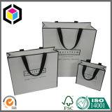 Bolsa de papel del portador de las compras de la promoción de la impresión de color de la maneta del satén