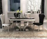 Jeu de marbre de salle à manger d'acier inoxydable d'amour de base moderne de chrome
