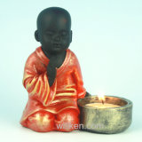 小型樹脂の赤いカラーShaolinの修道士の彫像の蝋燭ホールダー