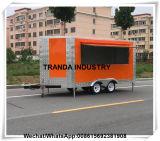 De Kiosk van de Staaf van het Sap van de popcorn op Straat die de Mobiele Aanhangwagen van de Hotdog van de Staaf van het Sap in Qingdao in werking stelt