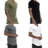 T-shirt occasionnel de collet de rond court de coton de chemise de T-shirt de mode extensible mince d'hommes