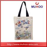 La moda señoras bolso de lona de algodón/compras bolsa de playa con impresiones