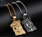 Mens Gold silver en acier inoxydable Déclaration Jésus face à la tête de la chaîne Collier Pendentif boîte