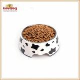 Kuh-Muster Melamine&Stainless Stahlhaustier-Hundenahrungsmittelfilterglocke (KE0014)